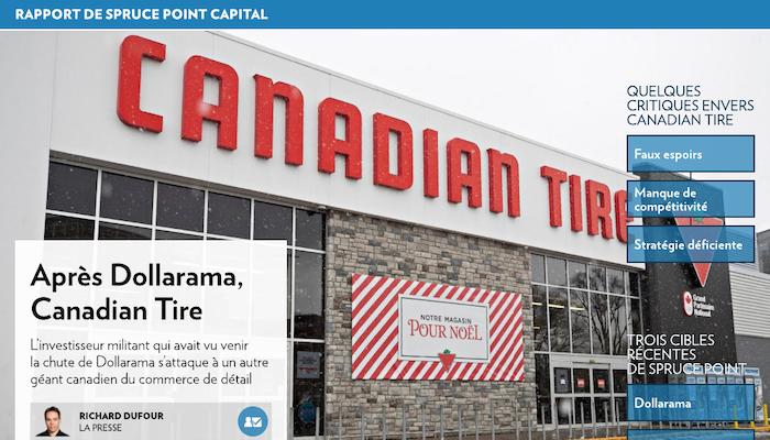 Vente à découvert : après Dollarama, Canadian Tire
