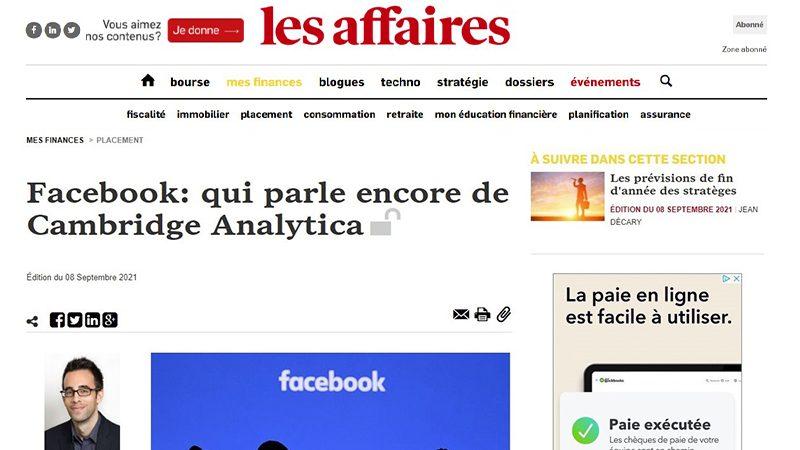 Facebook : qui parle encore de Cambridge Analytica?